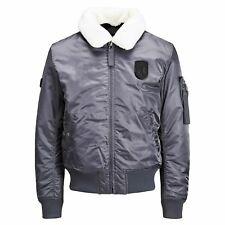 JACK & JONES Borg Mens Jacket Teddy Collar MA1 Aviator Bomber Coat