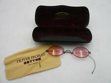 Oliver Peoples Rare Vintage Tiny Oval Rose Colored Wire Framed Spectacles w Case