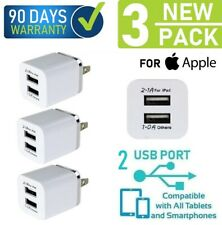 3-Pack 2.1A White Wall Cube Double USB Port for iPhone SE,6,6s,7,8,X,XS,XR,11{f1