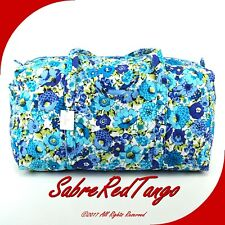 NWT VERA BRADLEY QUILTED LARGE DUFFEL GYM TRAVELLING BAG FLORAL BLUEBERRY BLOOMS