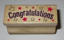 Congratulations Rubber Stamp Stars Congrats Pre-Owned Wood Mounted