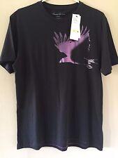Men's Kenneth Cole New York Black T-Shirt Size Medium Purple Foil Raven Chest
