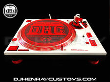 2 custom white & red Technic SL1200 MK5 red halos white/ red leds dj turntables