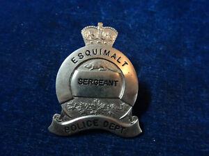 "Orig Vintage Obsolete Cap Badge ""Esquimalt - Sergeant"" Stokes"