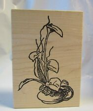 Another Stamp Company CA-164-N Calla Lily in Potted Round Bowl Vase Rubber Stamp