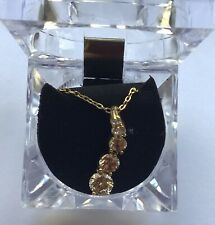 Necklace & Pendant-- five clear round crystals- gold tone-vertical row
