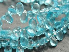 """HAND FACETED APATITE DROPS, graduated 4x6mm / 5x7mm, 8"""", 65+ beads"""