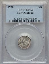1936 New Zealand Silver 3 pence- Patu Club- PCGS MS 64-rare condition