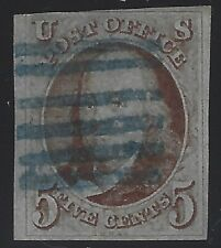 US Stamps - Sc# 1 - Used - Nice Blue Cancel                              (C-016)