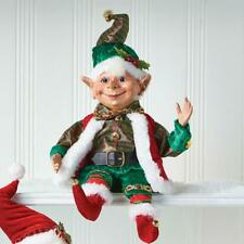 """NEW 2020 Raz 16"""" Green and Red Plaid Posable Elf Christmas Figure 4002457"""