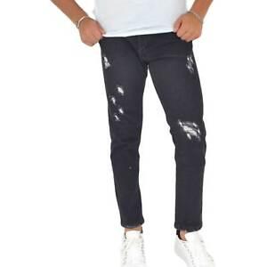 Pantaloni Jeans nero denim slim. Skinny fit.Chiusura con bottoni.strappato sulle