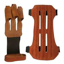 Leather Archery Protective 3 Finger Gloves Hunting 2 Straps Arm Guard Gear Bow