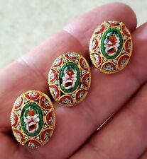 Vintage Micro Mosaic Oval Buttons Glass Flowers Italy Italian (3)