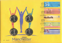 2002 coin cover Commonwealth Games Royal Mint £2 x 4 Two Pounds PNC free UK pp