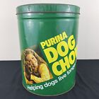 Vintage Large 1970's Purina Dog Chow Green Tin Food Container Ad Pet Food