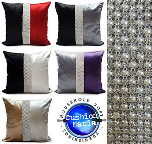 "Designer Cushions or Covers Plain Velvet Diamante Pearl Two Tone 17X17""or21""X21"""