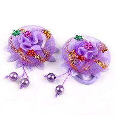 2 x encaje rosa flores de pelo cuerdas elásticas scrunchie