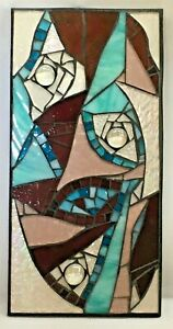 M057 Glass Mosaic Wall Art Picture 30cm x 15cm Abstract Aqua Pink Clear