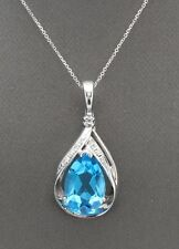 6.85 Carat Natural Swiss Blue Topaz and Diamond in 14K Solid White Gold Pendant