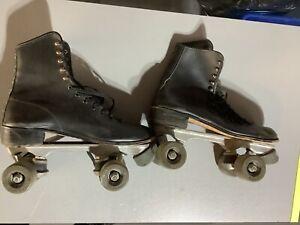 Vintage Mens Size 8.5 Black Leather Roller Derby Roller Skates