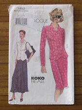 VOGUE PATTERN - 7492 LADIES SKIRT JACKET TOP 20 22 24 PLUS SIZE USED
