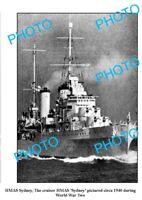 OLD LARGE PHOTO WWII AUSTRALIAN BATTLESHIP HMAS SYDNEY c1940