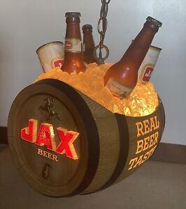 Figural Barrel JAX BEER Lighted Motion Sign-rotator-clock & twinkling logo