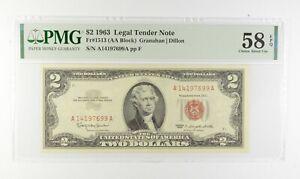 1963 $2 FR1513 (AA Block) Red Seal Graded PMG - 58 EPQ Legal Tender *646