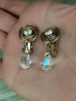 VINTAGE CLEAR GLASS CRYSTAL PRONG SET RHINESTONE DANGLE BEAD CLIP ON EARRINGS