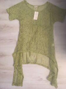 NEW LADIES LAGENLOOK lime green CROCHET MESH long TUNIC TOP jumper Size 12-14