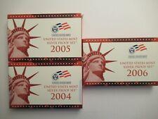 Lot of 3 US Mint Silver Proof Sets, mint pkgs w/COAs, 2004-2006