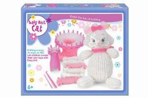 Children's Easy Knitting Set White Cat Teddy Reusable Starter Kit