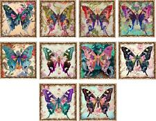 """10 vintage altered art butterfly 2"""" cards blank with envelopes and organza bag"""