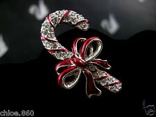 SIGNED SWAROVSKI  PAVE' CRYSTAL CANDYCANE PIN ~ BROOCH RETIRED NEW