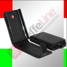 custodia eco PELLE nera per LG ELECTRONICS E430 OPTIMUS L3 II flip case