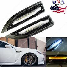 2x Universal Carbon Fiber White/ Amber Dual-Color LED Side Marker Courtesy Light