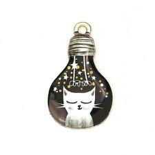 4 x Cat Light Bulb Enamel Pendant Charms