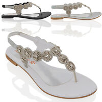 Womens Slingback Flat Sandals Ladies Diamante Black Silver Holiday Party Shoes