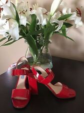 Prada Patent Double Strap Block Heel Sandal 37.5 Rosso Red - Authentic