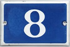 Old blue French house number 8 door gate plate plaque enamel steel metal sign
