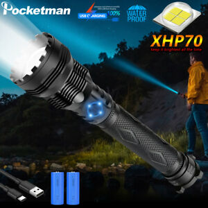 Powerful 100000LM XHP70 LED Flashlight Rechargeable 3 Modes Zoom Torch 26650