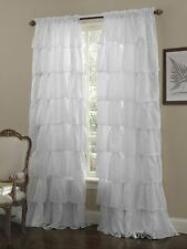 Crushed Voile Sheer Shabby Chic Gypsy Ruffle Window Curtains/panels Rod pocket