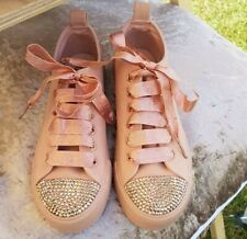 Personalised Crystal Bling Sparkle Rose Gold Converse Type Trainer Plimsole