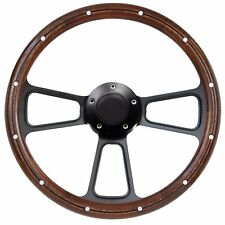 1989 - 1991 Ford Mustang Real Wood & Black Billet Steering Wheel Full Kit