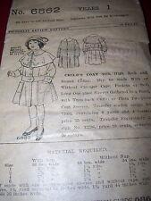 RARE - YEAR 1907-PICTORIAL REVIEW 6862-GIRLS EDWARDIAN ERA CAPE COAT PATTERN  1