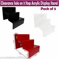 5X 3 STEP ACRYLIC DISPLAY STAND RETAIL SHOP JEWELLERY THREE TIER NAIL VARNISH