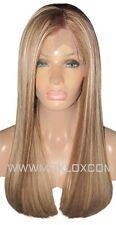"Human Hair Wig Full Lace 20"" Long Light Brown Blonde 6 613 Highlights Moklox UK"