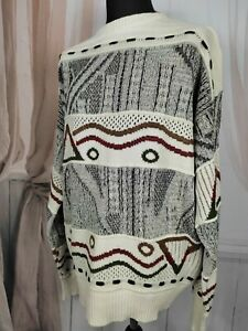 Men's Cosby Coogi Style 90s Cream Sweater Pullover Jumper In Extra Large