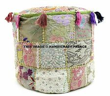 Indian Ottoman Cover pouffe Small Vintage Patchwork Foot Stool Decorative Throw