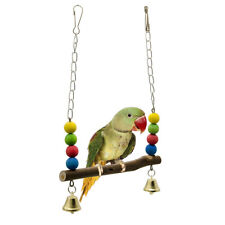 Bird Chicken Stand Swing Natural Wood Toy for Parrot Munia Macaw Training Perch